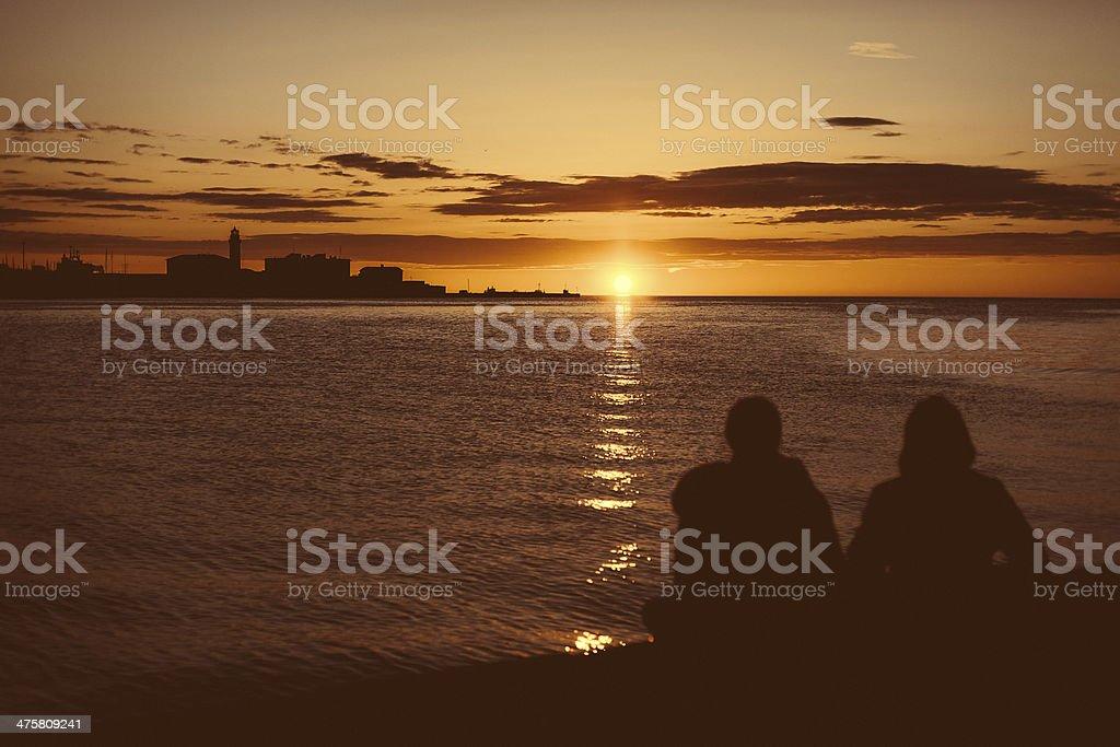 Enjoying the sunset stock photo