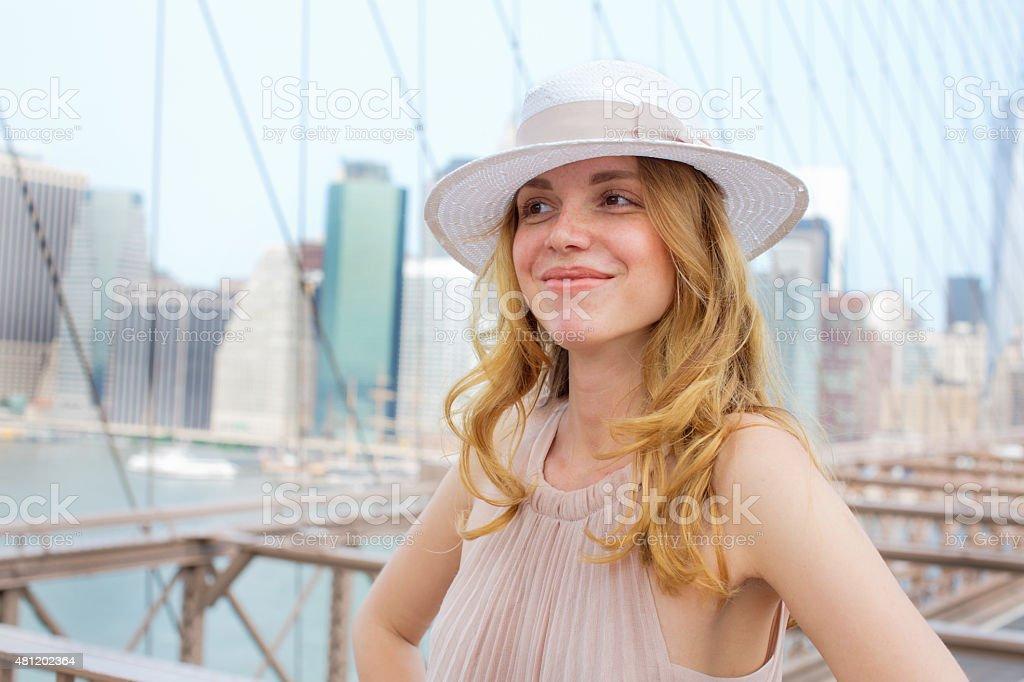 Enjoying the view from Brooklyn Bridge stock photo