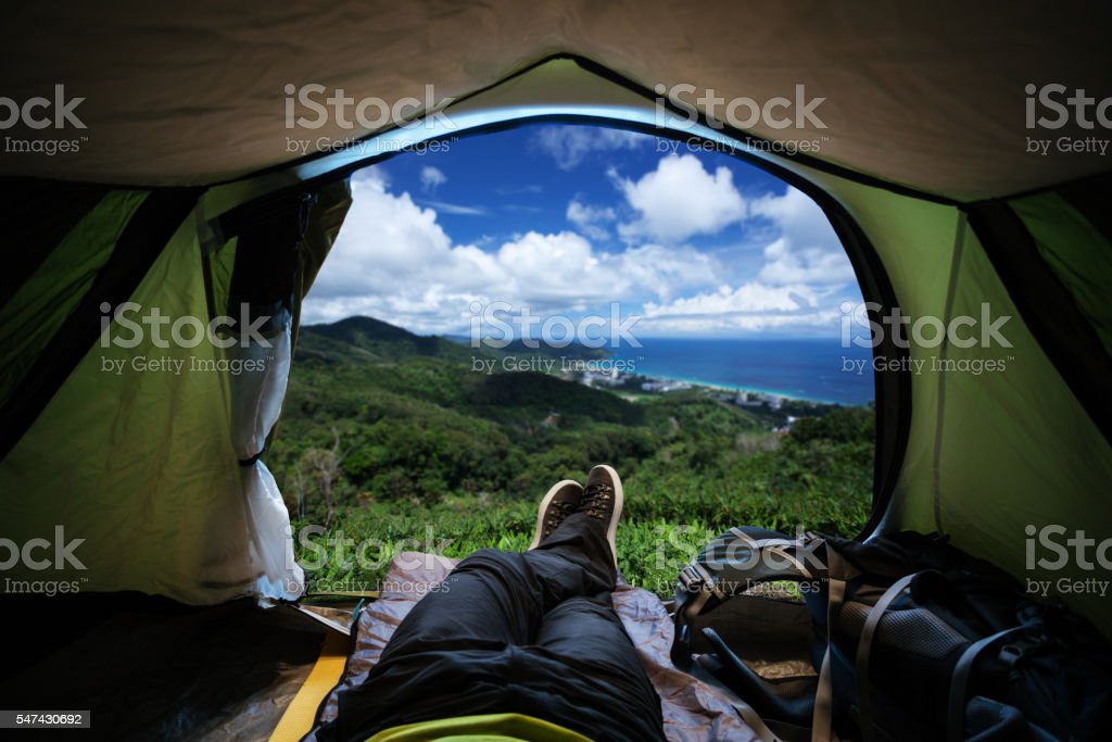 Enjoying the view from the tent stock photo