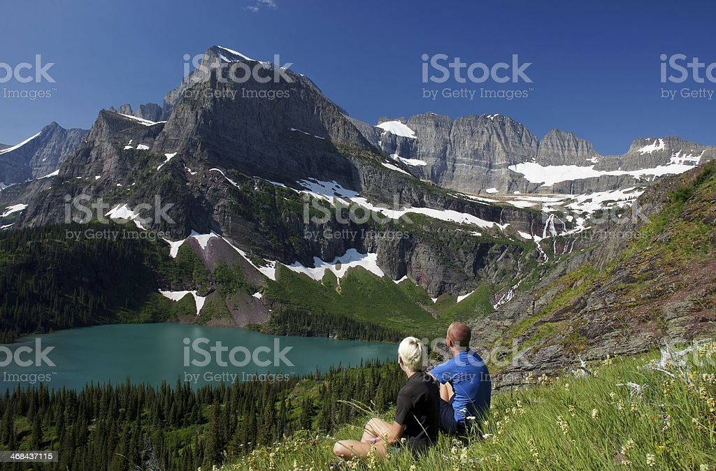 Enjoying the view in Glacier National Park stock photo