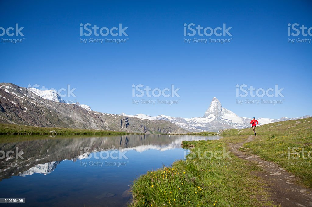 Enjoying the view of the Matterhorn while running stock photo