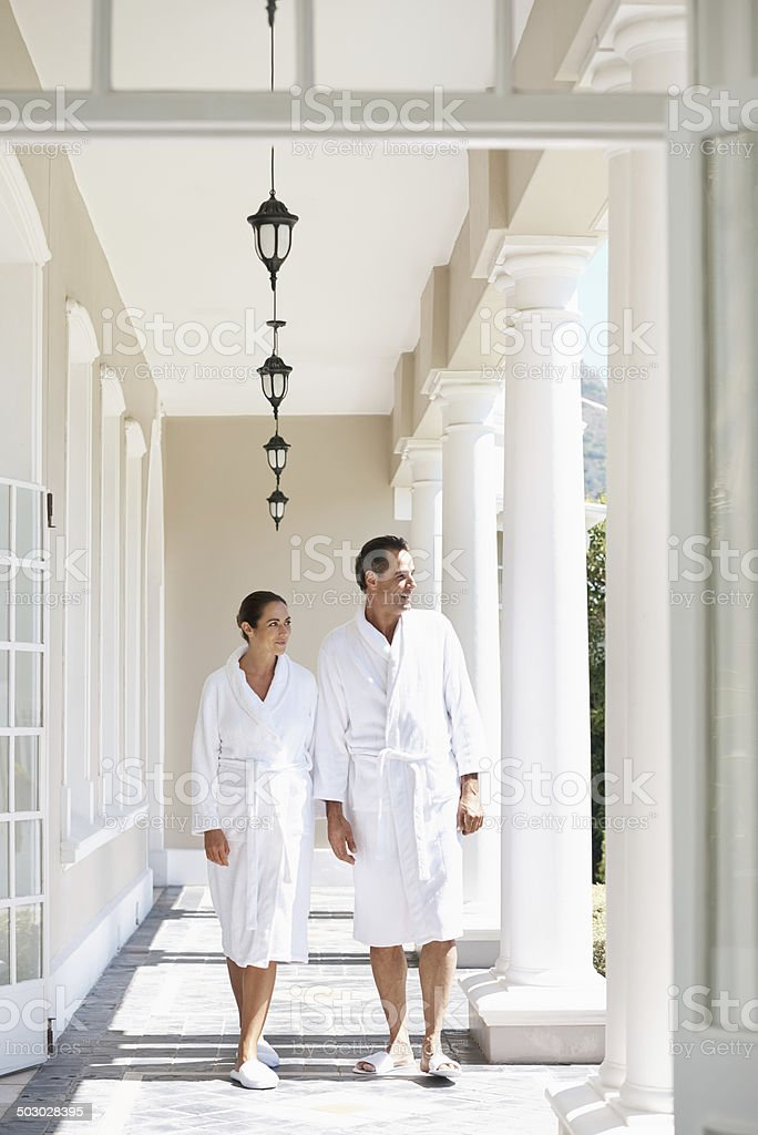 Enjoying the view on our spa day stock photo