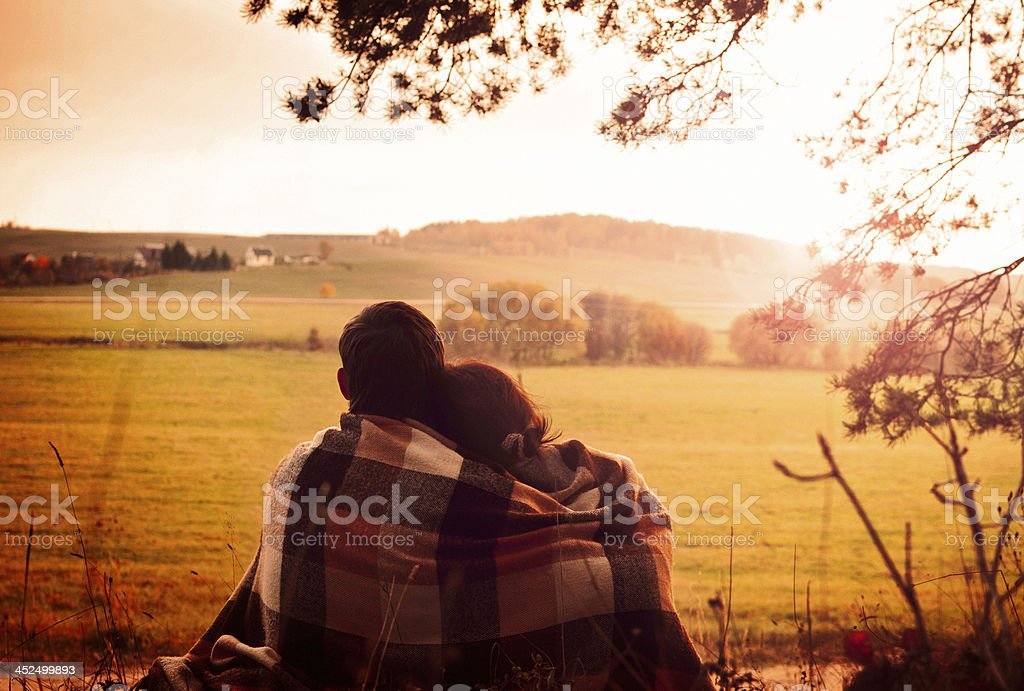 Enjoying the view together stock photo