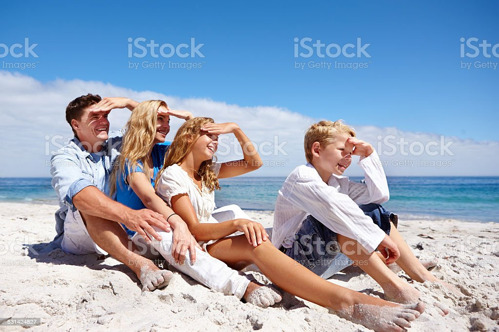 Enjoying the views at the beach stock photo