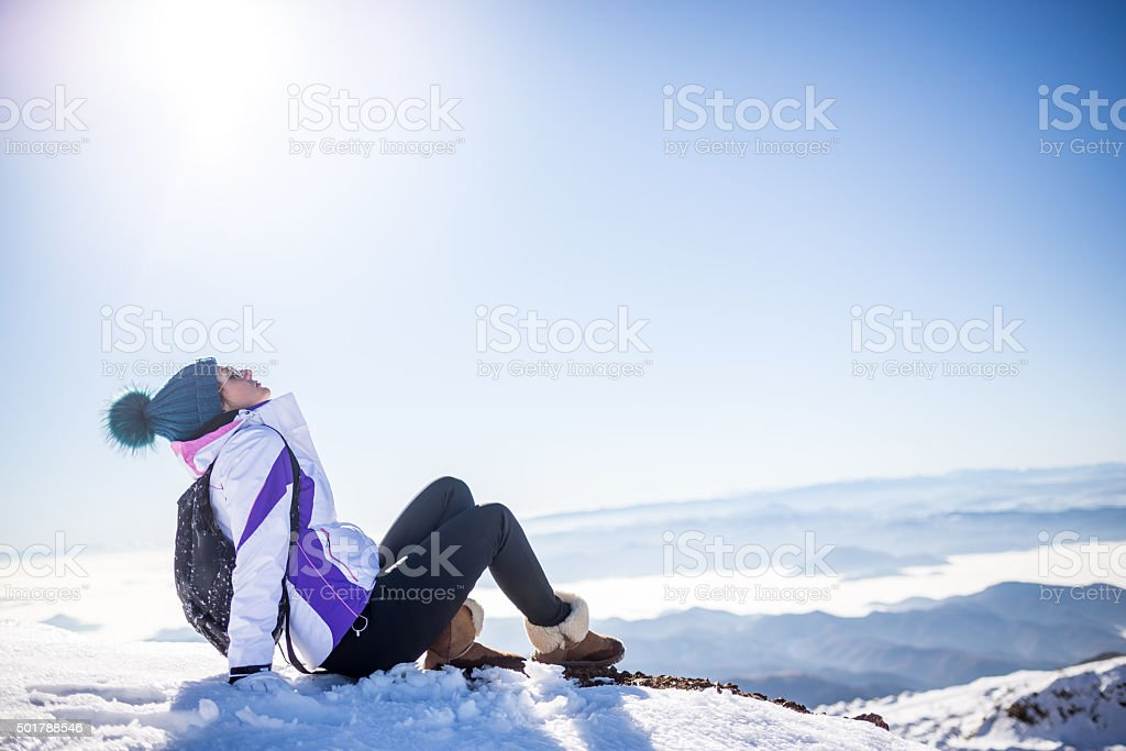 Enjoying the winter sun stock photo