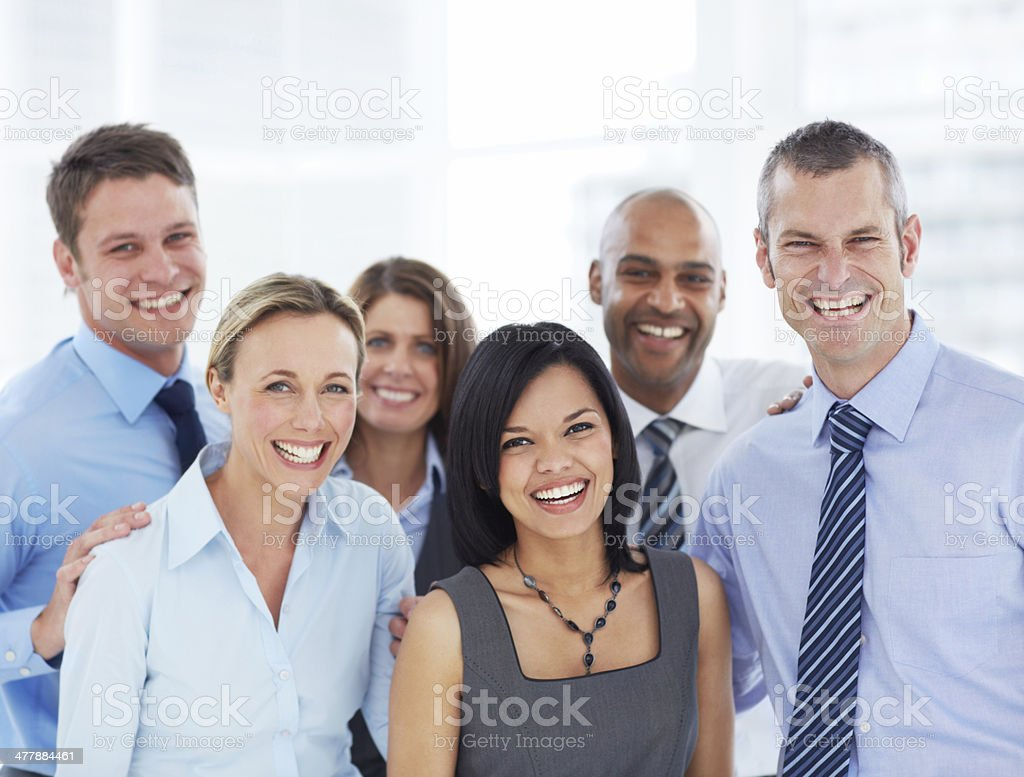 Enjoying their corporate spirit! royalty-free stock photo