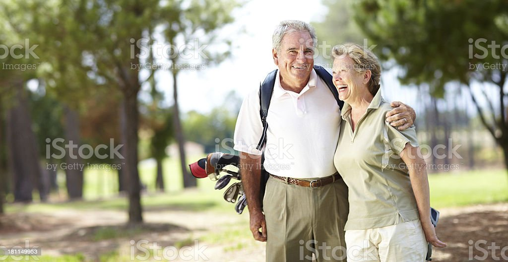 Enjoying their day of golf together royalty-free stock photo