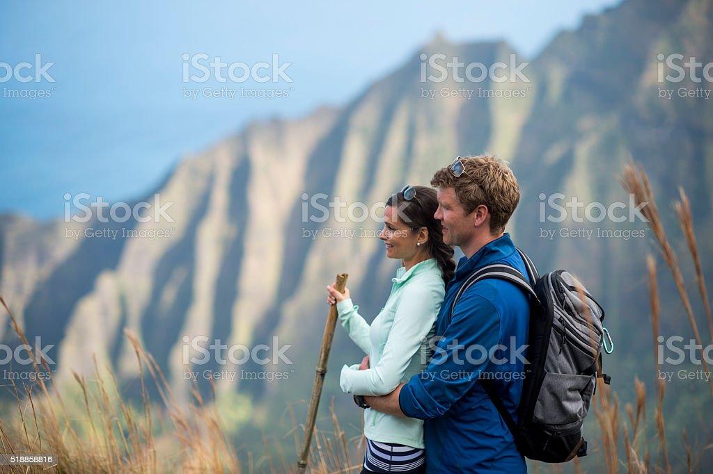 Enjoying Their Hawaiian Honeymoon stock photo