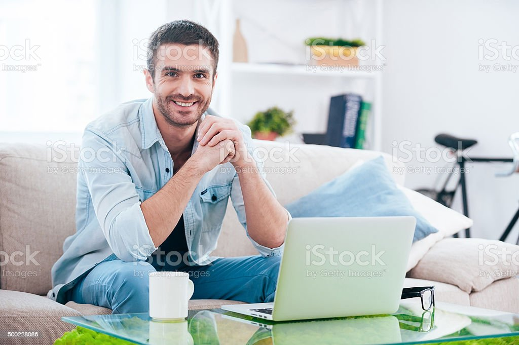 Enjoying time at home. stock photo