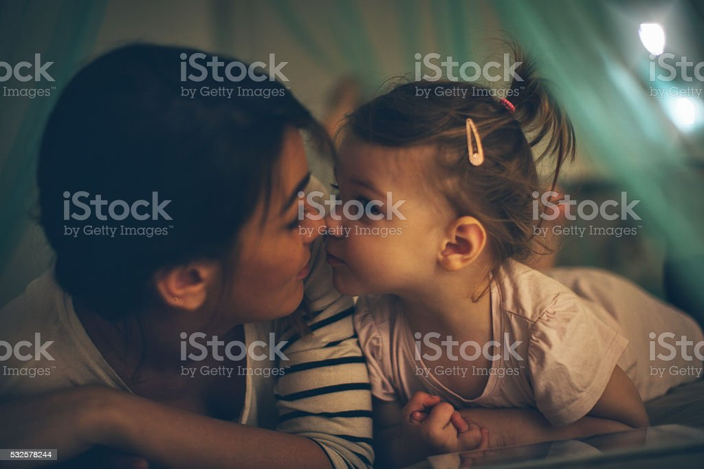 Enjoying time together before bed stock photo