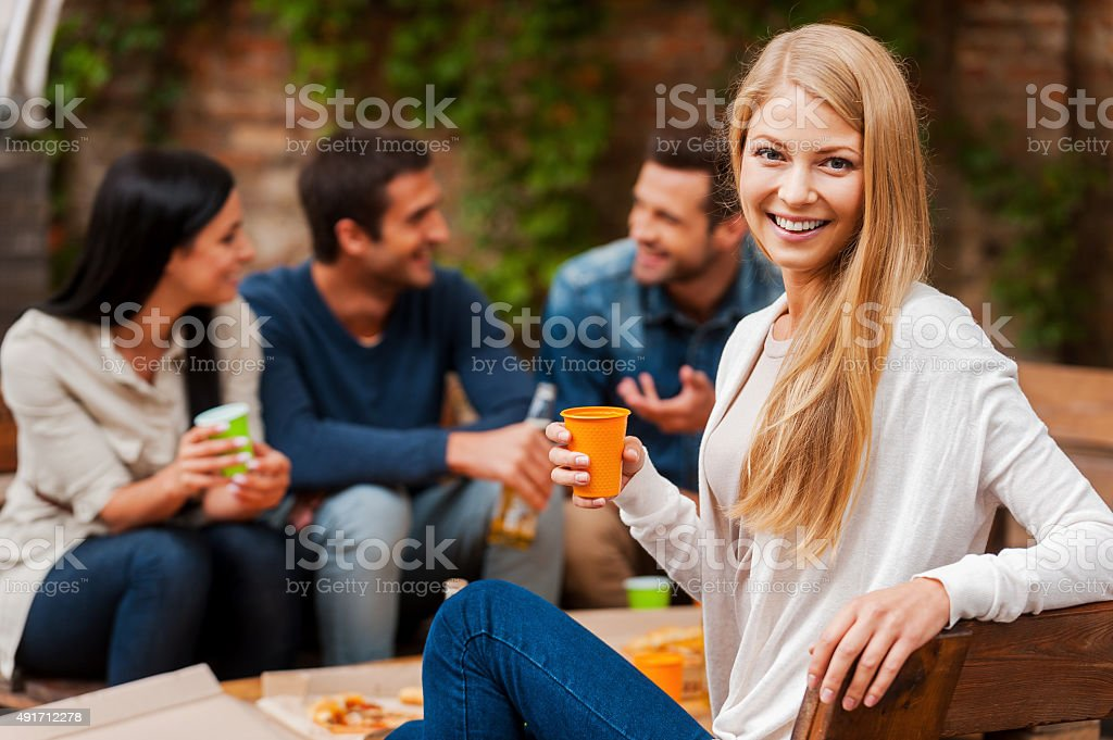 Enjoying time with friends. stock photo