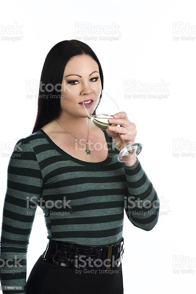 Enjoying wine royalty-free stock photo