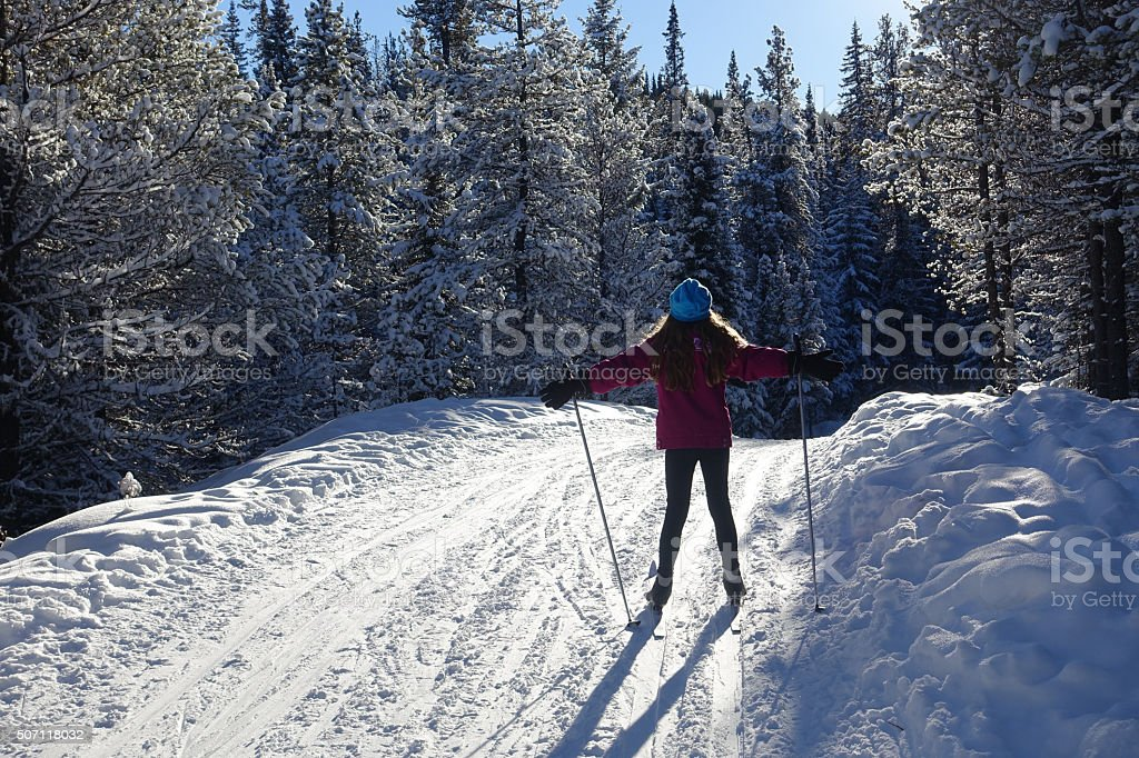 enjoying winter stock photo