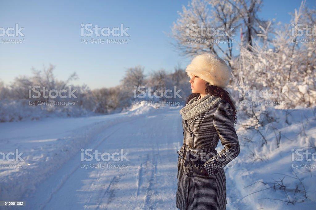 Enjoying winter views stock photo