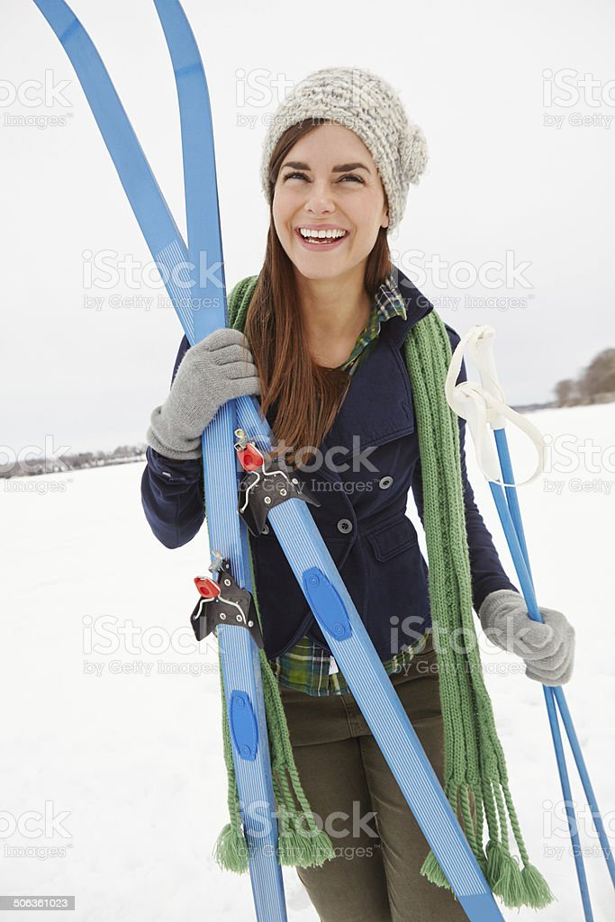 Enjoying winter with a fun activity royalty-free stock photo