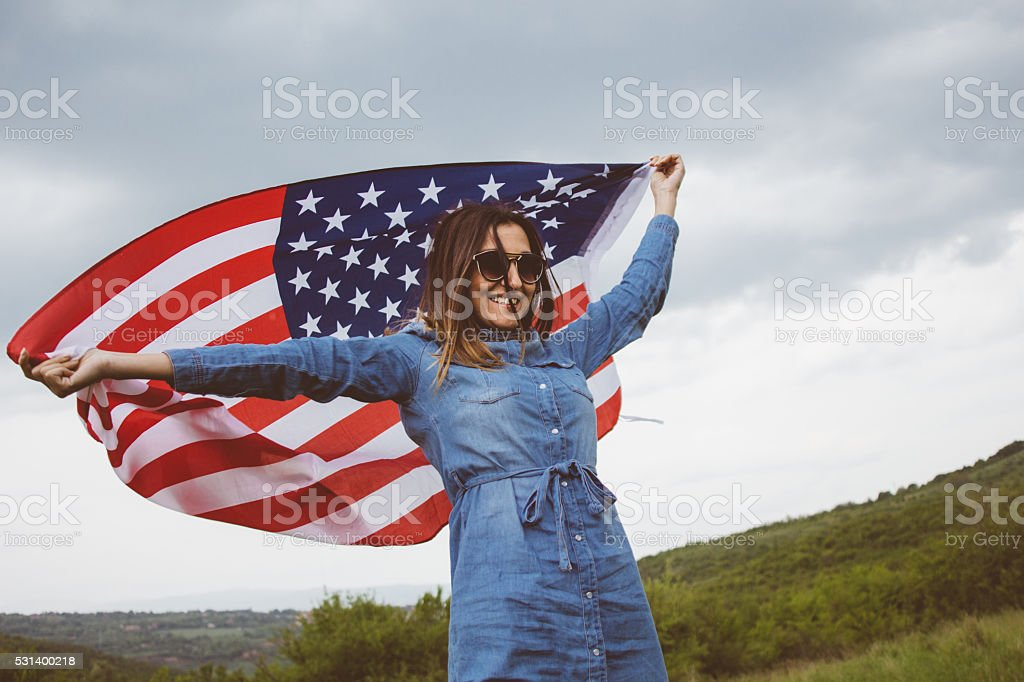 Enjoyment in freedom on Independece day stock photo