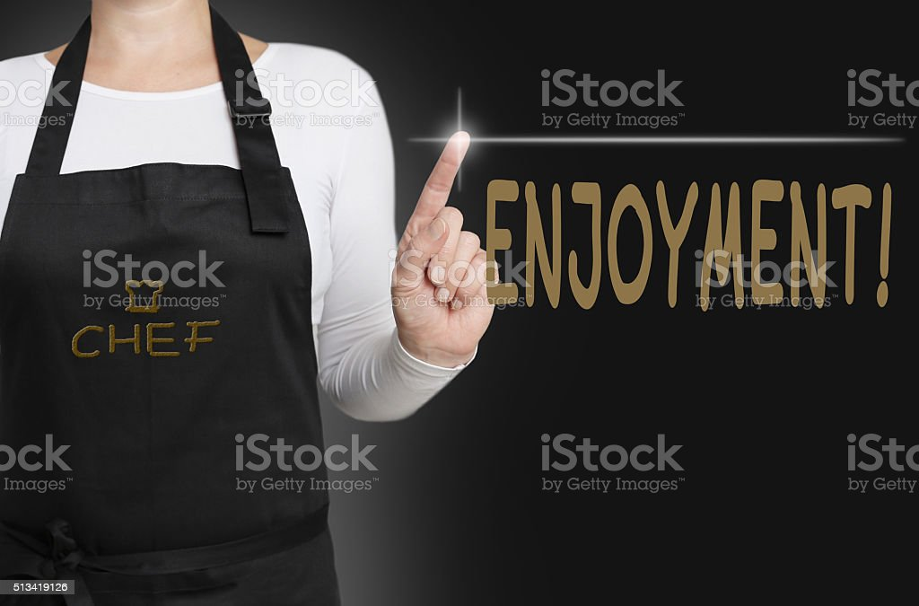 enjoynment touchscreen is operated by chef stock photo