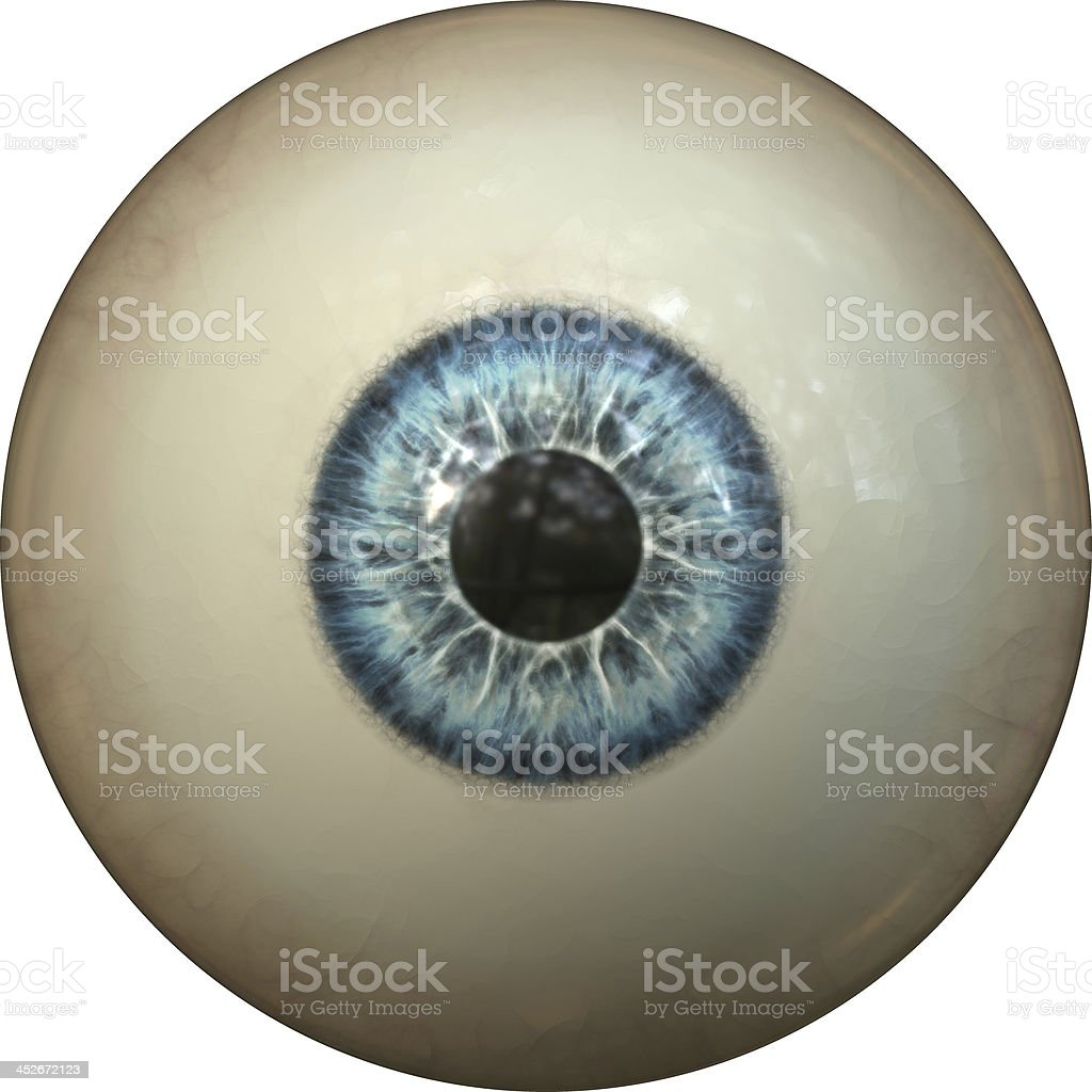 Enlarged image of a human eyeball with a blue iris stock photo