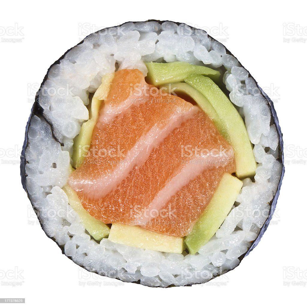 Enlarged image of a sushi roll on a white background stock photo