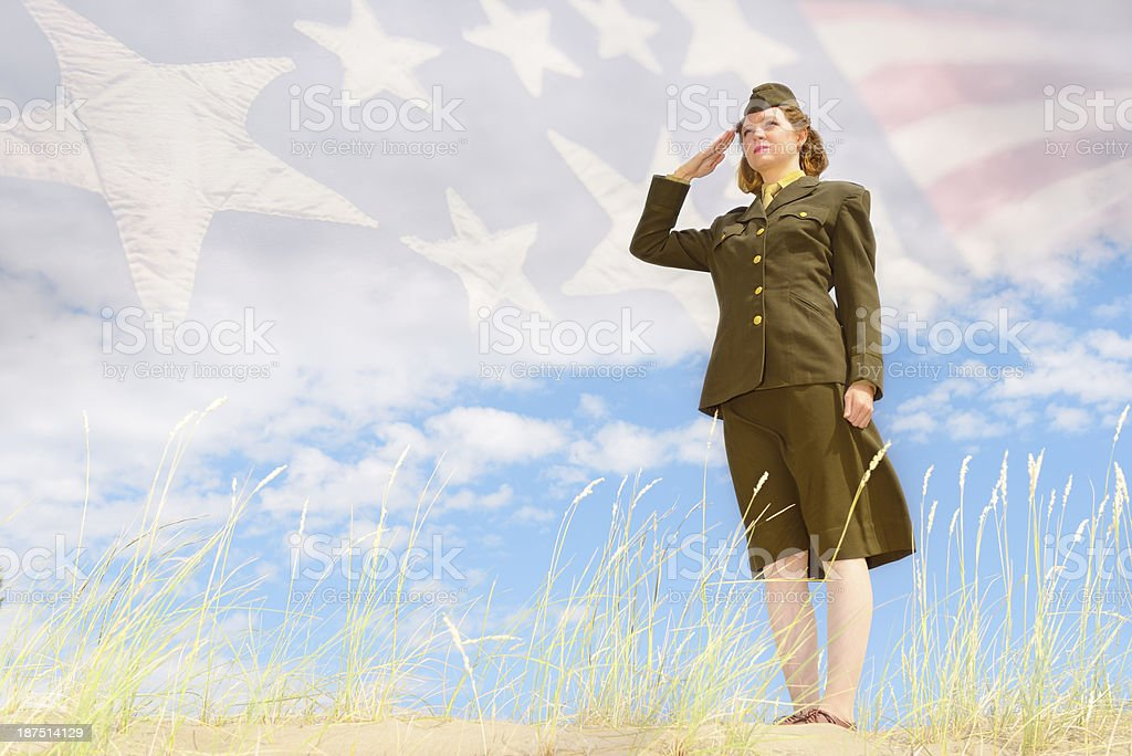 WWII US Enlisted Female Soldier Saluting - Army royalty-free stock photo