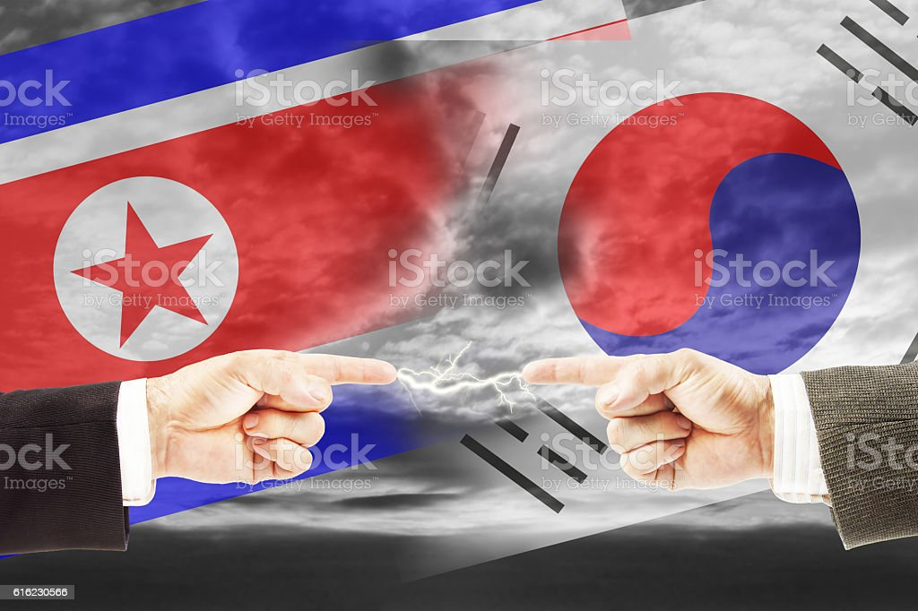 Enmity and antagonism between North and South Korea stock photo
