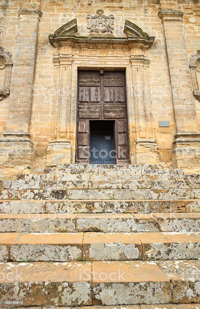 Enna, Sicily: Chiesa di Santa Chiara, Close-Up Door Detail stock photo
