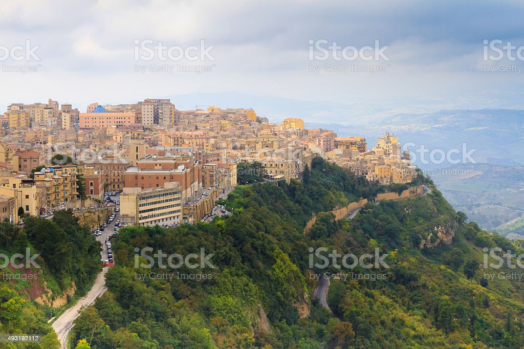 Enna, Sicily: Panoramic View of Town Perched on Green Hill stock photo