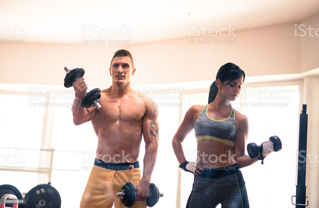 Enojy your time in gym with loved ones stock photo
