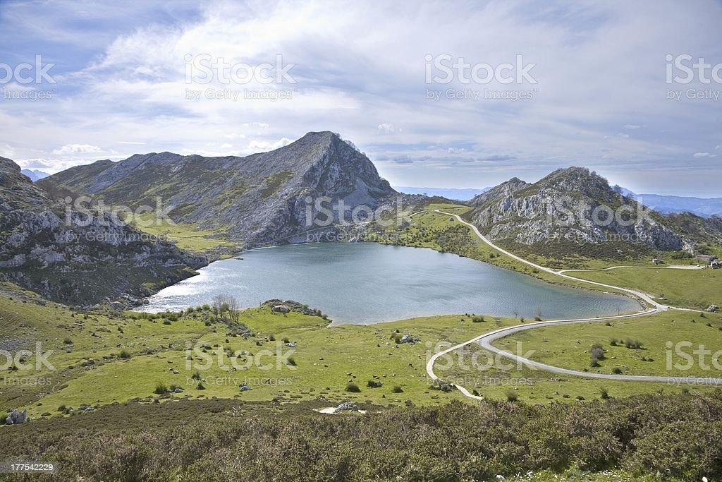 Enol lake in Asturias stock photo