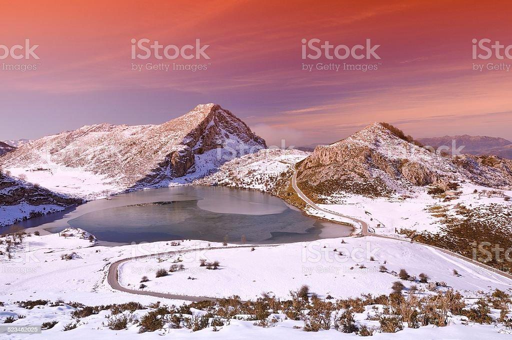 Enol lake. stock photo