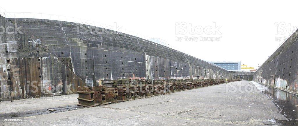 Enormous Titanic Dry Dock Floor stock photo