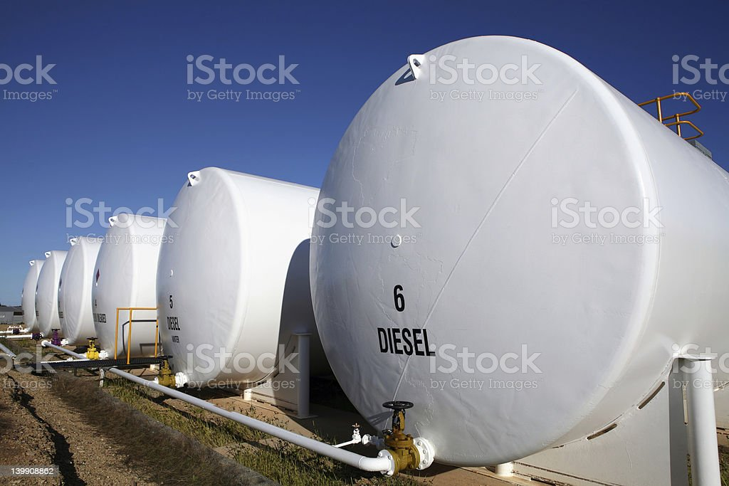 Enormous white diesel fuel tanks lined up in Houston, Texas stock photo