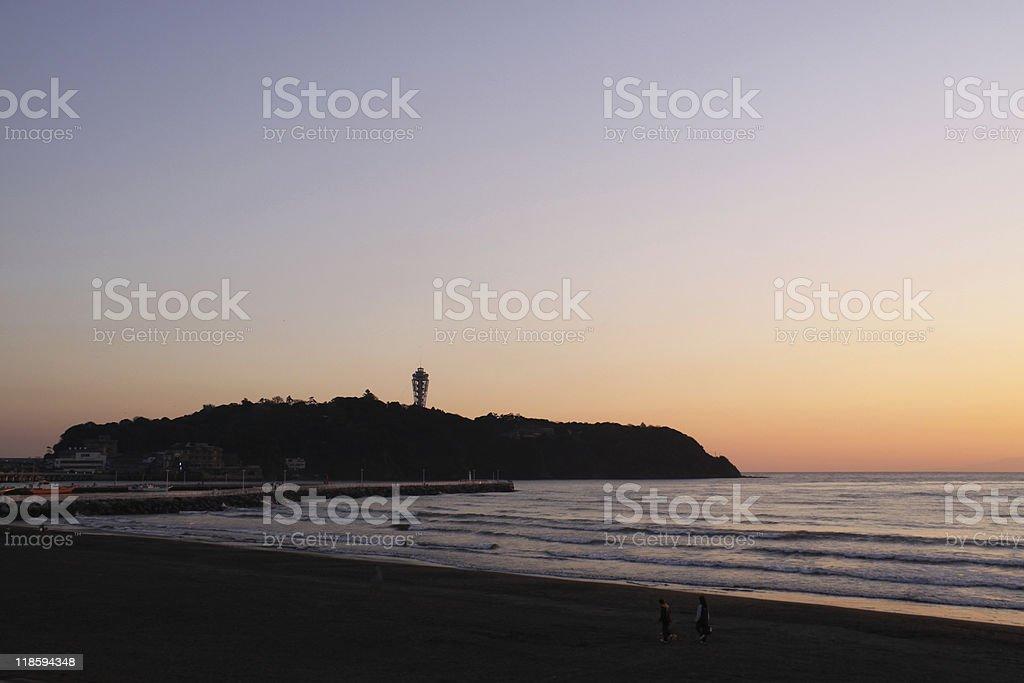 Enoshima isle during sunset royalty-free stock photo