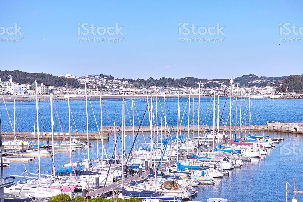 Enoshima Yacht Harbor scenery stock photo