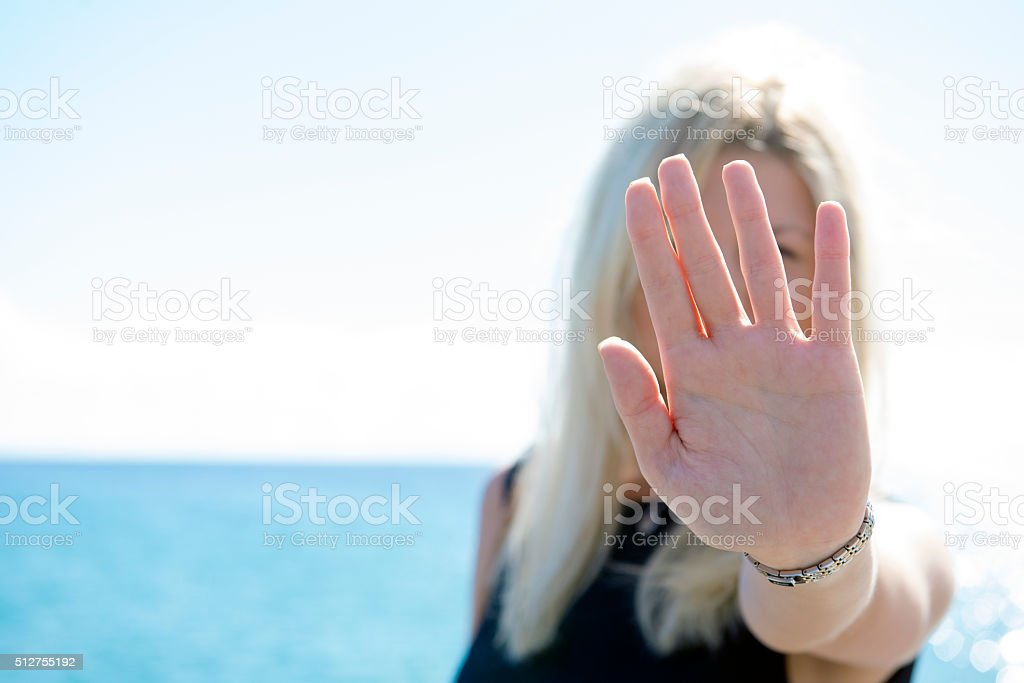 Enough! Stay Away! self defense stock photo