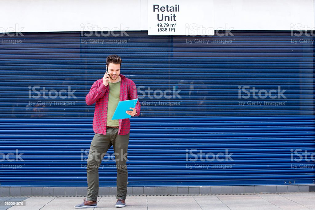 Enquiring about office space stock photo