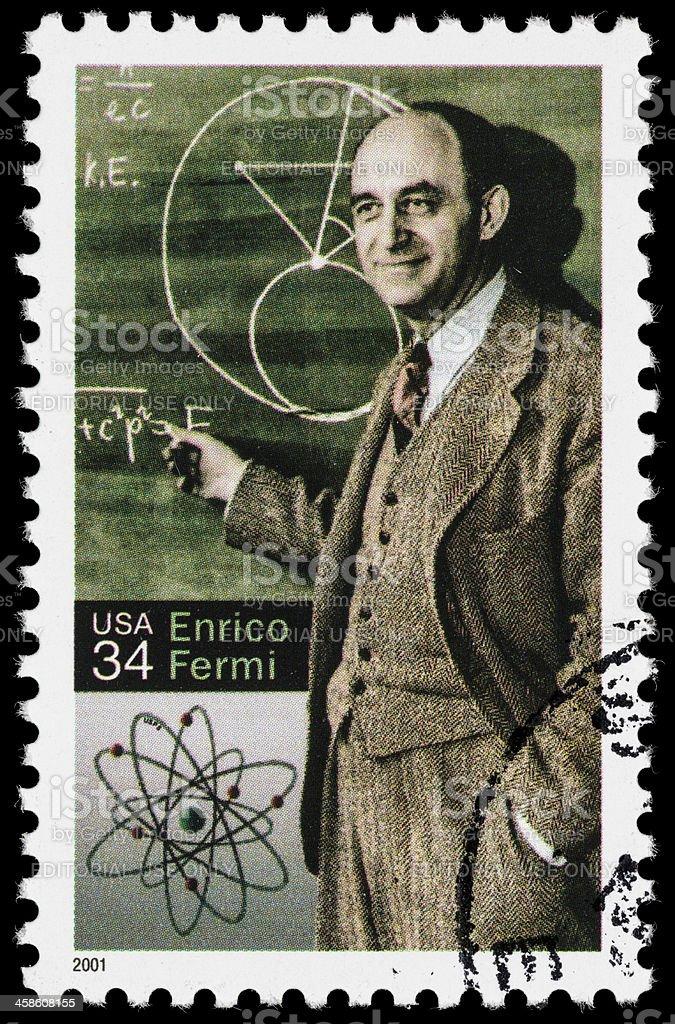 USA Enrico Fermi postage stamp stock photo
