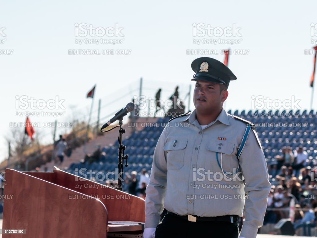 Ensign of the Israel Defense Forces  in ceremonial form stands near the rostrum at the evening formation in Nahariya, Israel stock photo
