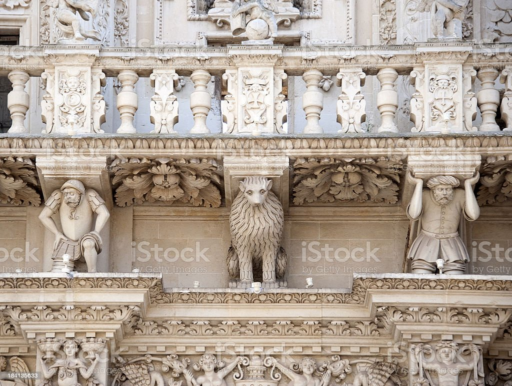 Entablature, Basilica di Santa Croce, Lecce – Italy royalty-free stock photo