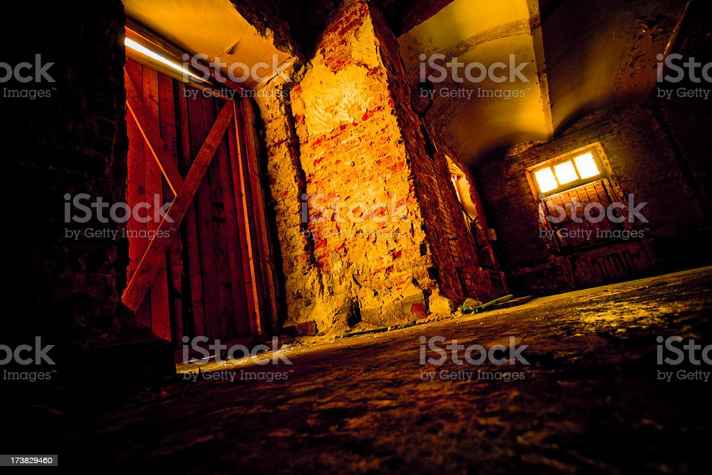 Entance in abandoned house royalty-free stock photo
