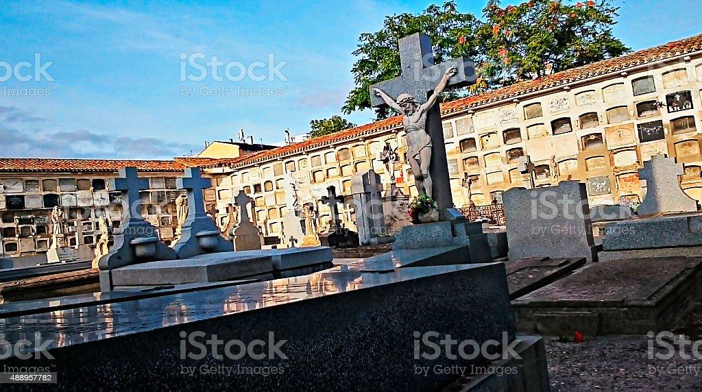 Enter a cemetery stock photo