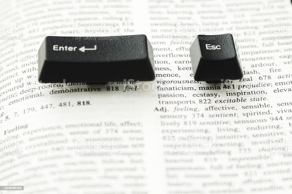 Enter and escape computer keys on a book spread royalty-free stock photo