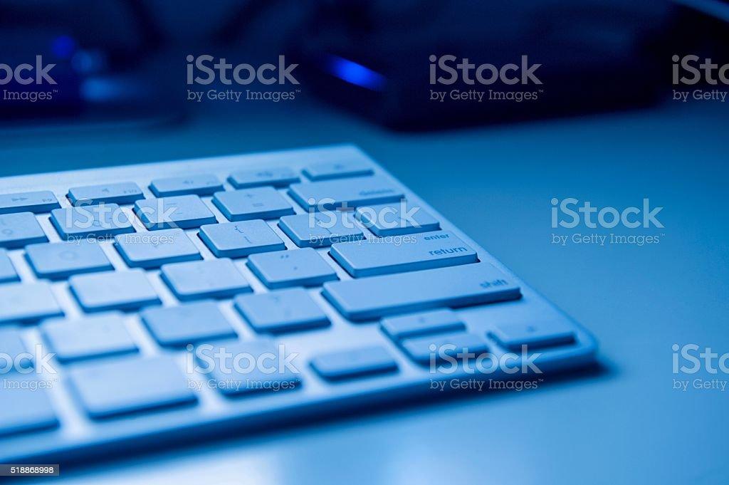 Enter and Return Key On Blue Keyboard stock photo