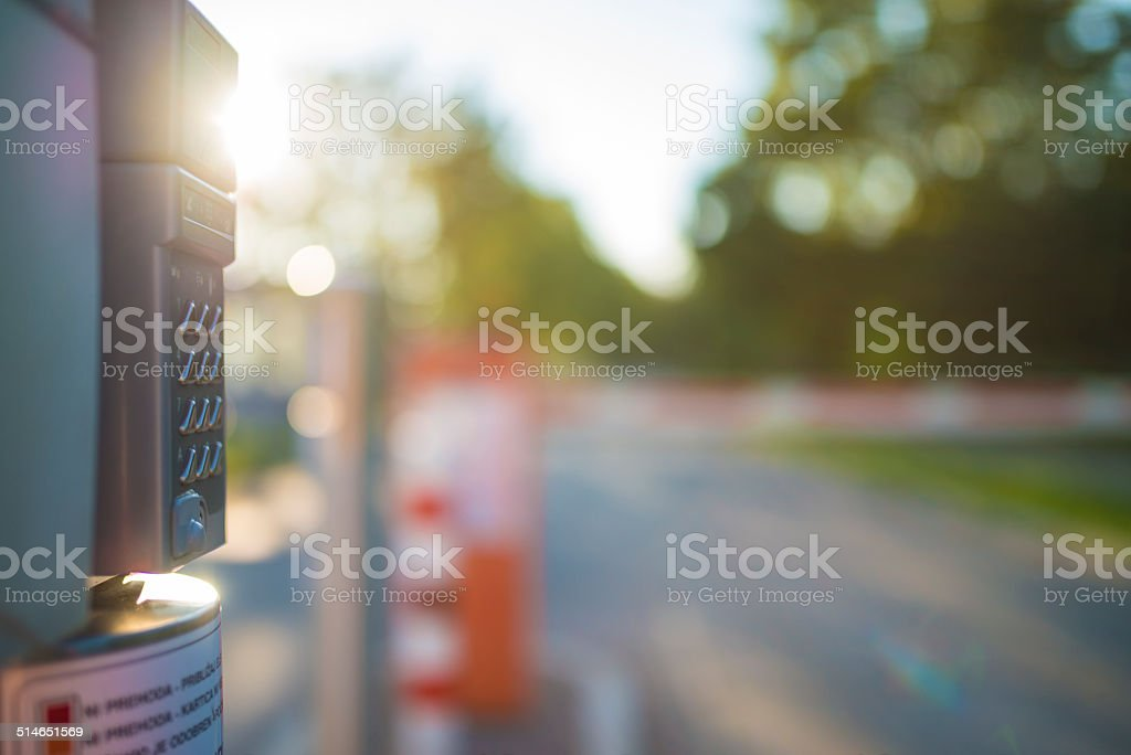 Enter code for parking stock photo