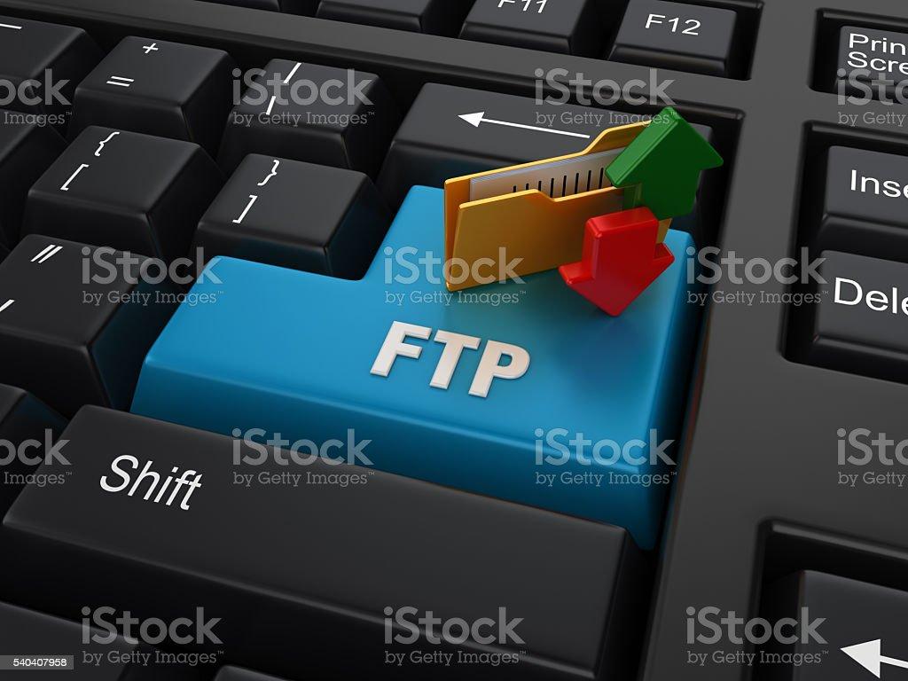Enter Key with FTP Folder stock photo