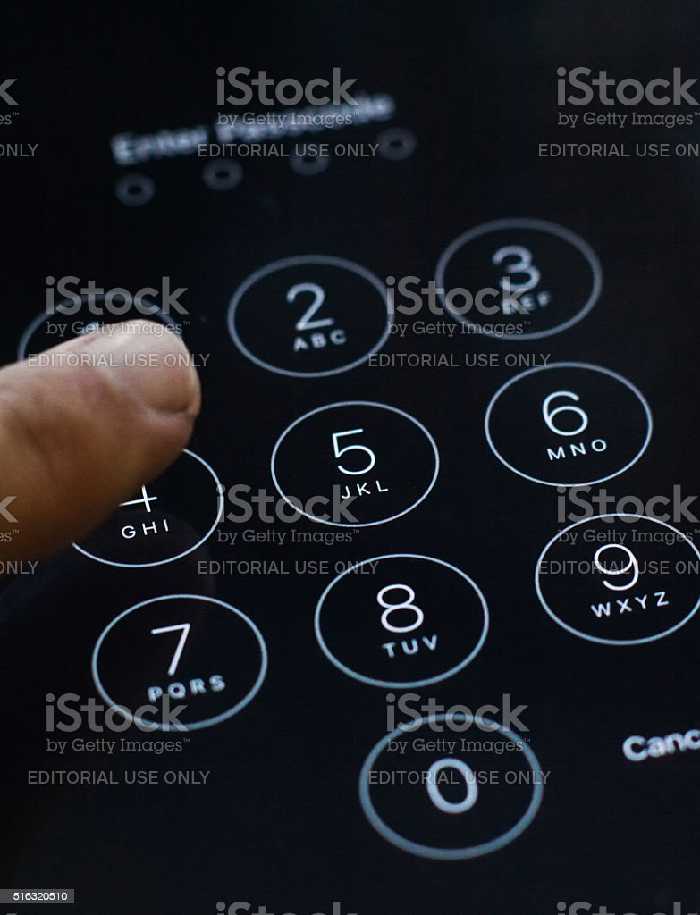 Enter passcode screen of iOS 8 stock photo