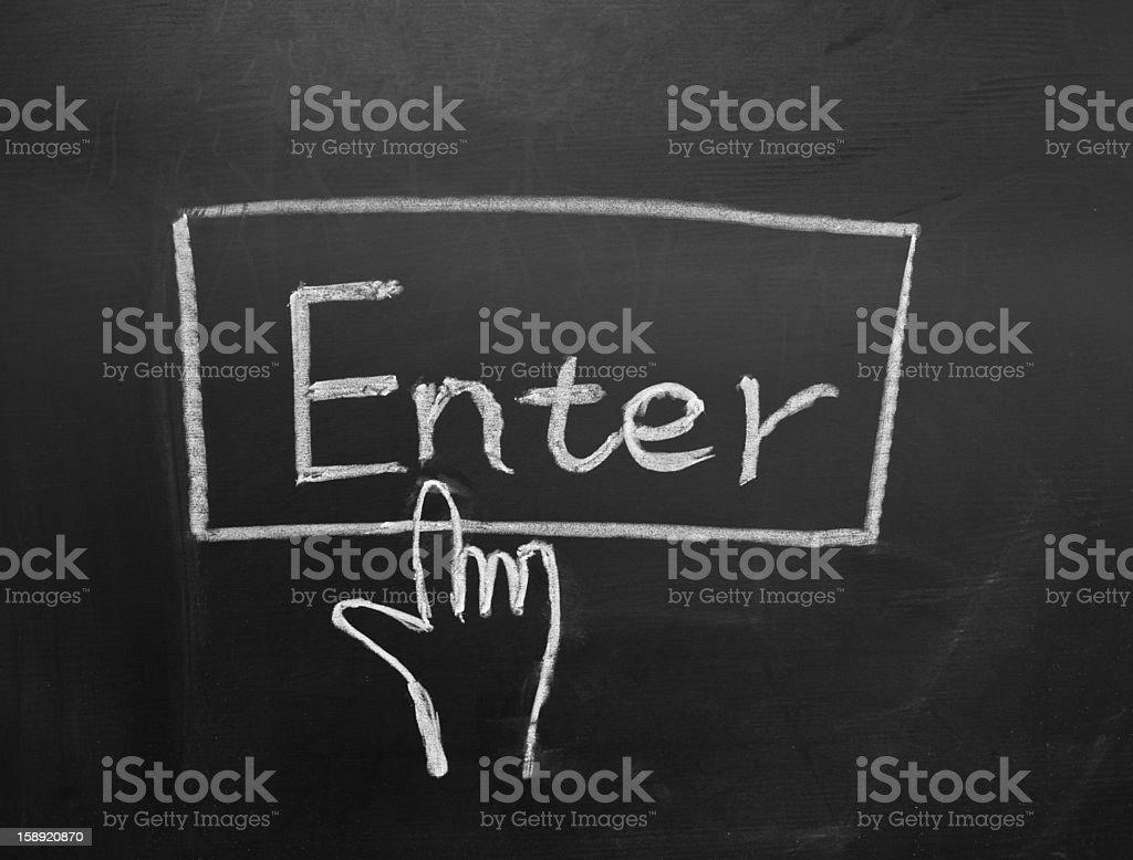 'Enter' pattern on the blackboard royalty-free stock photo