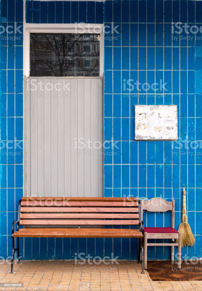 Enter place in Russian typical large-panel system building of Soviet period in Moscow commuter town area nowadays stock photo