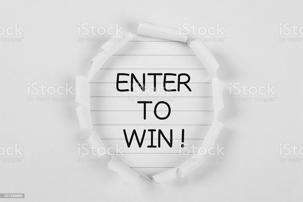 Enter To Win stock photo