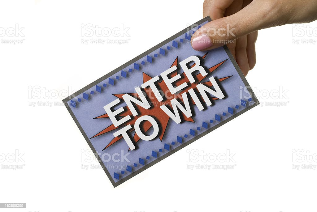 Enter to Win ticket on white background royalty-free stock photo